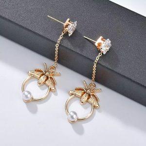 Flying Insect Pearl Crystal Stud Drop Earrings